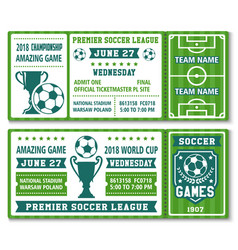Tickets template soccer football cup 2018 vector