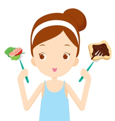 Useful and useless food choices for girl choosing vector image