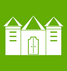 Wall and gate of the old fortress icon green vector