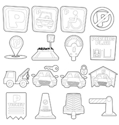 Parking icons set cartoon outline style vector image