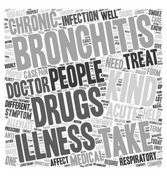 Drug for bronchitis text background wordcloud vector