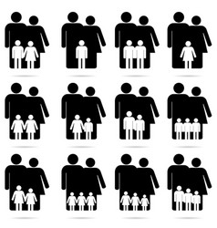 family icon set in black and white color vector image