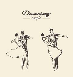 Set dancing couple draw sketch vector
