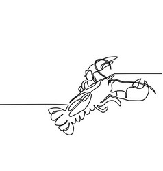 Grilled lobster continuous line drawing vector