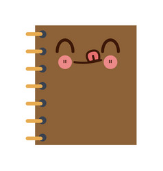 Kawaii notebook spiral study writing element vector