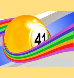 Bingo ball wrapped on a curved rainbow vector