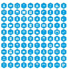 100 comfortable house icons set blue vector