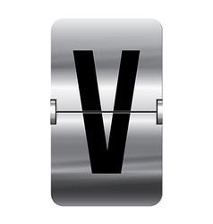 Alphabet silver flipboard letters v vector image