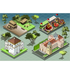 Isometric tiles of south american buildings vector