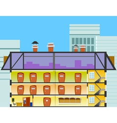 Cartoon office building in the cross section vector
