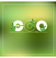 Green eco logo on blurred background vector