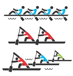 Rowing and canoeing icons vector