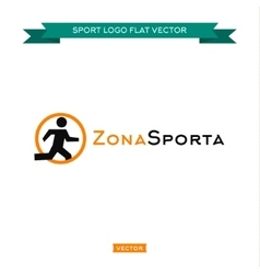 Icon running man logo in a circle sitting vector