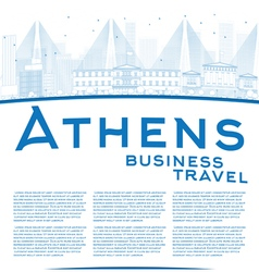 Outline athens skyline vector