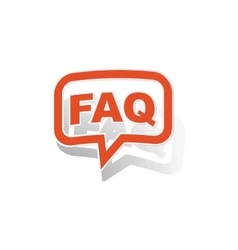 Faq message sticker orange vector
