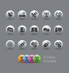 Wireless comunications icons pearly series vector