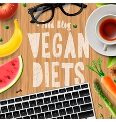 Vegan diet blogging vegetarian healthy food vector