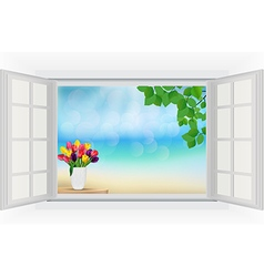 Open window with tulip flowers and leaf vector