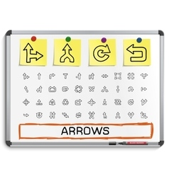 Arrows hand drawing line icons vector
