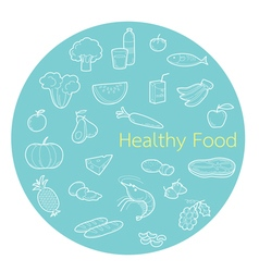 Useful food linear icons set in circle frame vector image