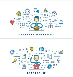 Internet marketing Leadership Flat line icons and vector image