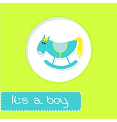 Baby boy shower card with cute horse vector image vector image