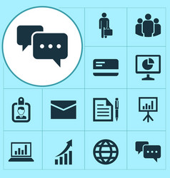 Business icons set collection of payment diagram vector
