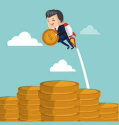 Businessman flying jetpack with coin vector