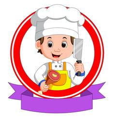 butcher mascot cartoon vector image