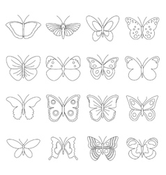 Butterfly icons set outline style vector