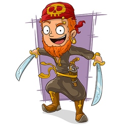 Cartoon pirate with swords and pistol vector