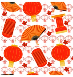 chinese red lanterns seamless pattern background vector image