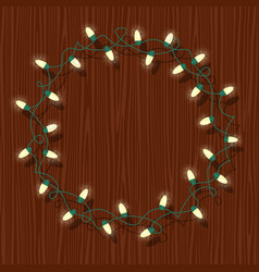 Circle frame of glowing white christmas lights vector