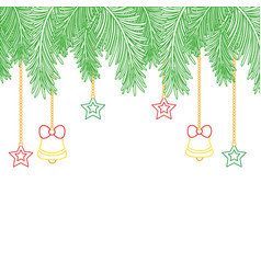 Color line garland with bells and stars hanging vector