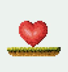 Color pixelated heart in meadow vector