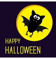 Cute bat and moon happy halloween card vector