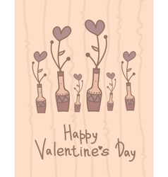 Cute vase with hearts flowers happy valentines vector