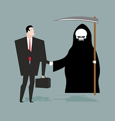 Deal with death businessman and grim reaper make vector