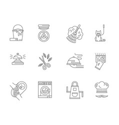 Domestic staff flat line icons set vector