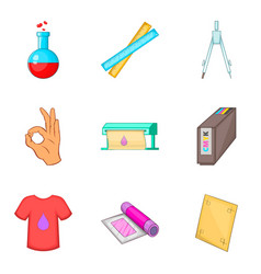 Dyeing icons set cartoon style vector