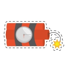 Dynamite sticks mining tnt clock fire cut line vector
