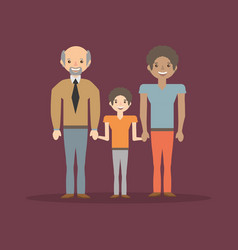 Family dad son and grandfather cheerful vector