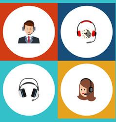 Flat telemarketing set of hotline headphone vector