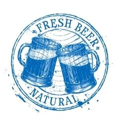 Fresh beer logo design template shabby vector