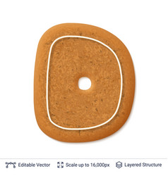 gingerbread letter d isolated on white vector image
