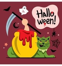 Halloween green cat cartoon vector