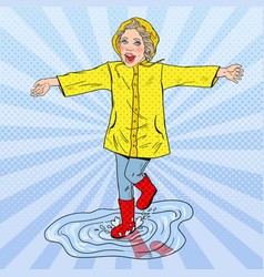 Happy girl running in puddles after rain vector
