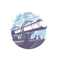 Hyperloop express transport train vector