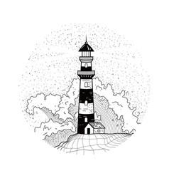 Lighthouse in waves with spray and foam vector