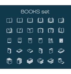 Line art books set vector image vector image